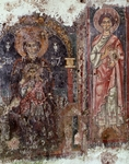 Madonna enthroned with Child and Saint Thomas Apostle, 12th century, fresco by Provincial Master, Church of Santa Maria in Grotta, Rongolise, Campania, Italy, 12th century