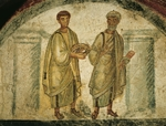 Saints Peter and Paul carrying Crown of Martyrdom, fresco of arcosolium, Catacombs of San Gennaro, Naples, Campania, Italy, 5th century