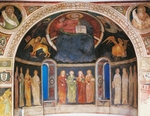 Christ in Majesty between symbols of evangelists and twelve Apostles, frescoes in niche of apse, Visconti Oratory, Albizzate, Italy, 14th century