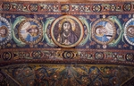 Clipei connected by pairs of dolphins with images of St James, St Paul, Christ, St Peter and St Andrew, mosaic, intrados of the arch at the entrance to the presbytery, Basilica of San Vitale, Ravenna, Emilia-Romagna. Italy, 6th century