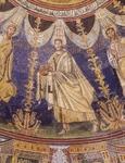 Procession of Apostles, mosaic, middle frieze of dome of Neonian Baptistery or Baptistery of Orthodox, Ravenna, Emilia-Romagna. Detail. Italy, 5th century.