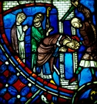 The Martyrdom of St Nicasius decapitated by a Vandal, scene from History of St Nicasius and his sister St Eutropia, 1210-1220, stained-glass, Soissons Cathedral, Picardy, France, 13th century