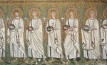 St Cyprian, St Cassian, St John, St Paul and St Vitalis, detail from the Saints Procession, mosaic, south wall, lower level, Basilica of Sant'Apollinare Nuovo (UNESCO World Heritage List, 1996), Ravenna, Emilia-Romagna. Italy, 6th century.
