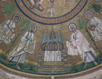 Etimasia (prepared throne) with Apostles Peter and Paul, mosaic