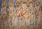 The apostles, detail from the Universal Judgment, 1072-1078, Byzantine-Campanian school frescoes, counterfacade of the Basilica of Sant'Angelo in Formis, Sant'Angelo in Formis, Campania. Italy, 11th century.