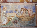 Christ appears to the Apostles on the lake, detail from the Stories of the New Testament, 1072-1078, Byzantine-Campanian school frescoes, left side of the nave of Basilica of Sant'Angelo in Formis, Sant'Angelo in Formis, Campania. Italy, 11th century.