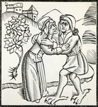 Devil disguised as witch's lover, illustration from Of Witches and Diviner Women, by Ulrich Molitor (1442-1507), Costanza Editions, 1489