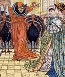 Apparition of witch accompanied by two peacocks, Engraving from drawing by Walter Crane (1845-1915)