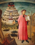 Dante Alighieri with Divine Comedy in his hand and mountains of purgatory in background, detail from Divine Comedy, by Dante Alighieri (1265-1321), by Domenico di Michelino (1417-1491), fresco, Basilica of Saint Mary of Flower, Florence. Italy,1465