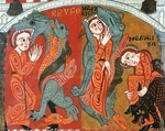 The Martyrdom of St Margaret, the saint being devoured by Satan in the guise of a dragon, reredos of the altar of St Margaret, 12th century, panel painting. Catalan Romanesque art.