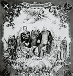 Kings William I, Franz Josef and Umberto I, on the occasion of the signing of the Triple Alliance, Treaty between the German Empire, Austria-Hungary and the Kingdom of Italy, May 20, 1882, handkerchief printed in Vienna, Austria, 19th century