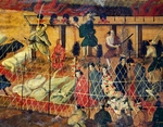 Scene of beheading, detail from the martyrdom of the Jesuit fathers, Nagasaki, September 10, 1622, carried out in Macao by unknown Japanese artist, painting on paper, 126x170 cm, Church of Jesus, Rome, Italy, 17th century