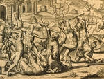 Martyrdom of missionary monks in South America, engraving from Historia americae, by Theodor de Bry (1528-1598), Frankfurt, 1602