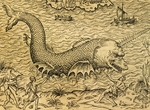 Sea monster, engraving from Universal Cosmology, by Andre Thevet (1504-1592), Paris, 1575, Detail, 16th century