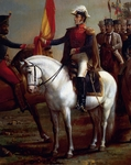 Portrait of Simon Bolivar (1783-1830) honouring flag after Battle of Carabobo, June 24, 1821, Detail
