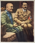 Benito Mussolini (1883-1945) and Adolf Hitler (1889-1945) in conversation, propaganda postcard, 20th century