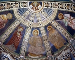 Blessing Christ between Madonna, John the Baptist, Saint Peter and Saint Paul at sides, frescoed apse of Basilica of Sant'Abbondio, Como, Lombardy, Italy