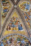 Apostles, 1447-1504, by Fra Angelico (ca 1400-1455) and Luca Signorelli (1441-1450 - 1523), frescoes, first span vault and lunette, San Brizio Chapel, right transept of Orvieto Cathedral, Orvieto, Umbria, Italy