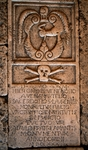 Fourth tombstone with coat of arms of Velenosi Family, Church of St Lawrence, Paggese, Marche, Italy