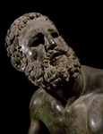 The face of boxer, detail of statue of boxer defeated, by Apollonius of Nestor, Hellenistic Civilization