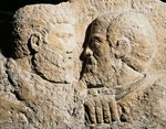 Portraits of the Apostles Peter and Paul face to face and seen in profile, artifact uncovered in Aquileia, Friuli-Venezia Giulia, Italy, Early Christian period, 4th century