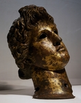 Head of Apollo in gilded bronze, replica of work by Praxiteles, artifact uncovered in Serdica (Sofia), Bulgaria, Roman Civilization, 3rd-4th century