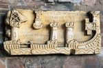 Medieval tombstone with relief depicting port, Monumental Cemetery, Pisa, Tuscany, Italy, 13th century