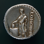 Silver denarius depicting voting scene, Roman coins