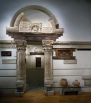 Reconstruction of church in Bawiti, south entrance, Louvre Museum, Paris, Coptic civilization, 6th century