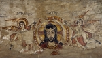 Head of Christ supported by two angels, wall painting, from monastery of Deir al-Muharraq, Egypt, Coptic civilization, 6th-7th century