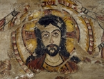Head of Christ supported by two angels, wall painting, from Deir al-Muharraq also known as Burnt monastery or Monastery of Virgin Mary, Egypt, Coptic civilization, 6th-7th century