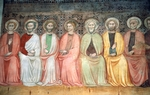 Jesus among twelve Apostles, fresco in apse of Church of St Andrew Apostle, Spello, Umbria, Italy