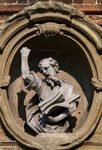 St. Paul, medallion above door of convent adjacent to facade of Church of Santa Maria del Carrobiolo, Monza, Lombardy, Italy