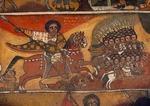 (Unesco World Heritage List, 1979), Knights with lances, paintings in Debre Birhan Selassie coptic Church (17th-18th century), Gondar, Ethiopia