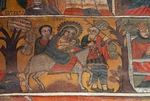 (Unesco World Heritage List, 1979), Mary, Jesus and Joseph, paintings in Debre Birhan Selassie coptic Church (17th-18th century), Detail, Gondar, Ethiopia