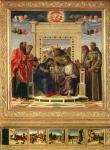Coronation of the Virgin with SS. Paul, Peter, Jerome and Francis of Assisi with scenes from the lives of the saints in the predella panel, known as the 'Pala di Pesaro' altarpiece, c.1474 (oil on panel)