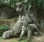 Dragon fighting a lion, sculpture from the Parco dei Mostri (monster park) gardens laid out between 1550-63 by the Duke of Orsini, to designs by Giacomo barozzi da Vignola (1507-73) (stone) (photo)