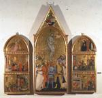 The Martyrdom of St. Sebastian Altarpiece, central panel showing the martyrdom and side panels showing other scenes from the life of the saint (tempera on panel)