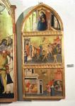 The Martyrdom of St. Sebastian Altarpiece, side panel showing the Virgin and scenes from the martyrdom of the saint (tempera on panel) (detail from 94767)