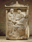 Phainippos and Mnesarete gravestone showing family reunion and handshake, Attic period, c.350 BC (marble)