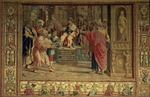 The Sorcerer Elymas struck blind by St. Paul before the Roman governor Sergius Paulus, detail from the Brussels Tapestries, replicas of Raphael's Vatican series of the Acts of the Apostles (tapestry)