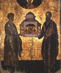 St. Peter and St. Paul presenting God with a Temple, icon, Veneto-Cretan school, 15th century (tempera on panel)