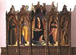 Polyptych depicting (central panel) Madonna and Child Enthroned; St. Dominic and St. Peter (left hand panels); St. Paul and St. John the Baptist (right hand panels), 1476 (panel)