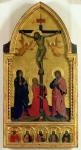 The Crucifixion with mourners and St. Mary Magdalene, the predella panel depicting SS. Jerome, Paul, James, Peter and an unknown saint (tempera on panel)