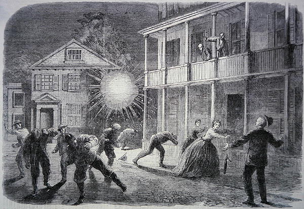 The War in America: The Federals shelling the city of Charleston, contemporary illustration from 'The Illustrated London News' (engraving)  © Bridgeman Images 2014