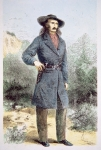 The first published picture of 'Wild Bill' Hickok (1837-76) printed in 'Harper's' magazine, February 1867 (colour litho)