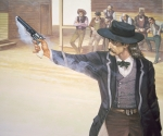 'Wild Bill' Hickok (1837-76) demonstrates his marksmanship with his Colt Navy model revolver (colour litho)