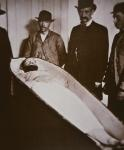 Jesse James in his coffin after being shot dead in 1882 (b/w photo)