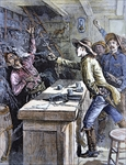 Billy The Kid (1859-81) shoots a bartender in an alleged incident of 1880, illustration from the 'Police Gazette' (colour litho)