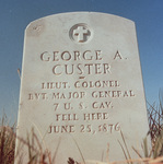 The headstone of General George Armstrong Custer at Little Bighorn Battlefield National Monument (photo)